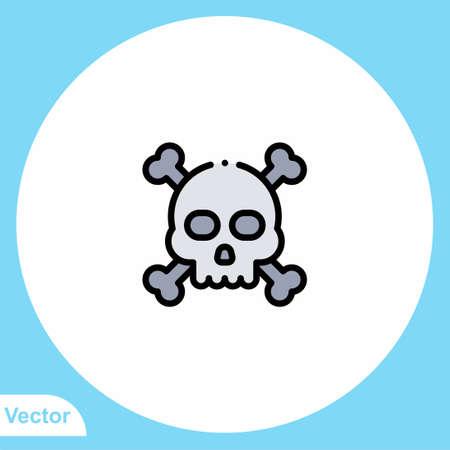 Skull flat vector icon sign symbol
