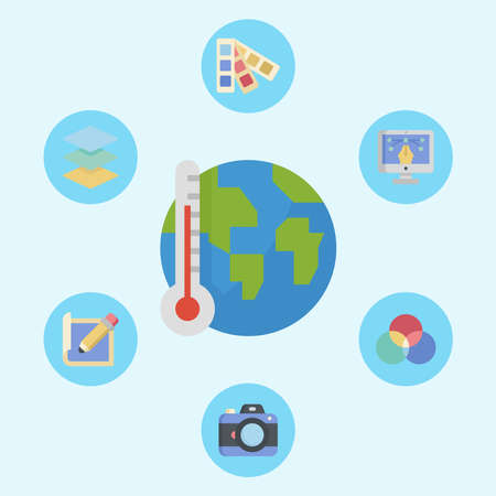 Global warming vector icon sign symbol Illusztráció