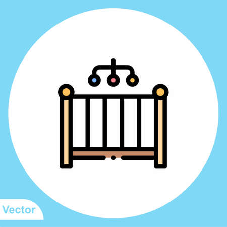 Baby crib vector icon sign symbol 矢量图像