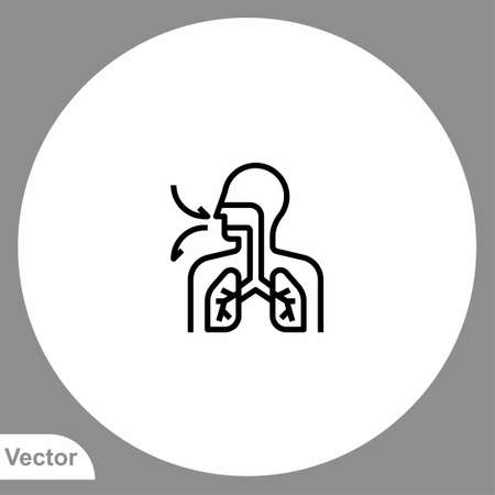 Lungs vector icon sign symbol