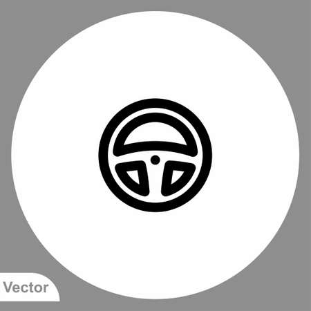 Steering wheel vector icon sign symbol