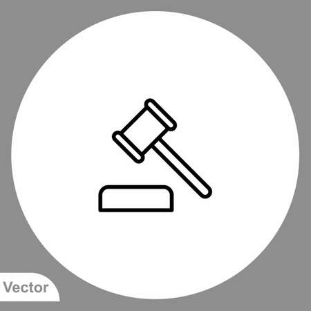 Law hammer vector icon sign symbol