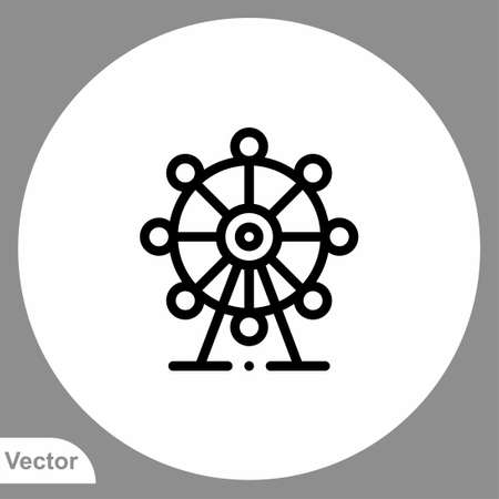 Ferris wheel icon sign vector, symbol, illustration for web and mobile