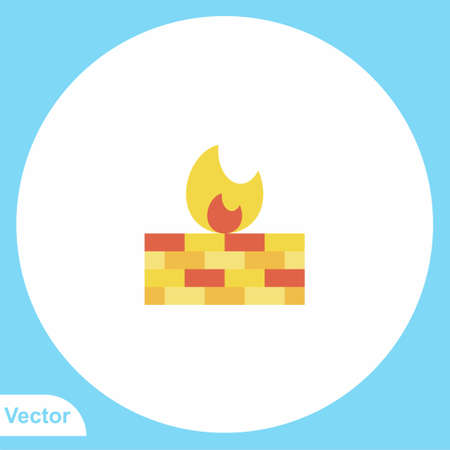 Firewall flat vector icon sign symbol
