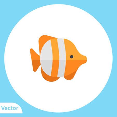 Fish flat vector icon sign symbol