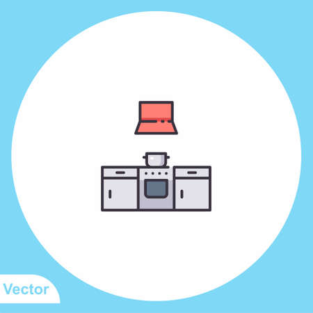 Gas stove flat vector icon sign symbol 向量圖像