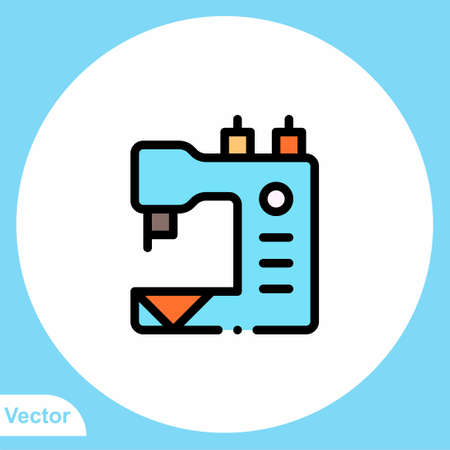 Sewing machine flat vector icon sign symbol Иллюстрация