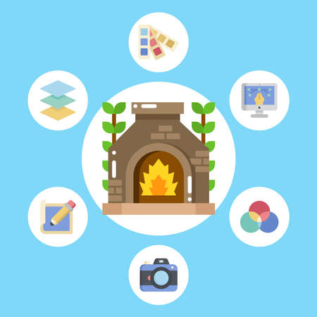 Fireplace vector icon sign symbol