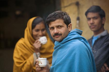 Rural people having tea Stock Photo
