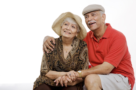 An old couple smiling Stock Photo