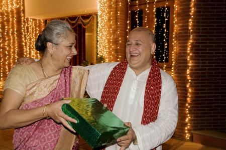 Presenting a Diwali gift