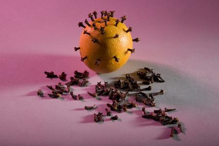 Cloves pinned on an orange