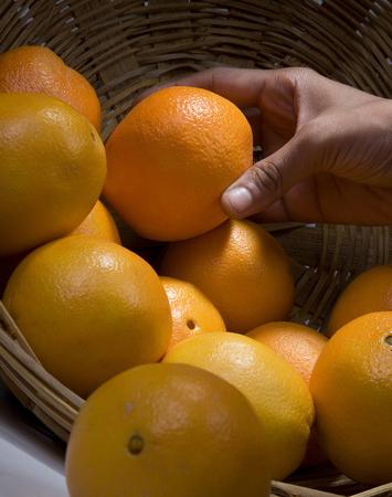 A woman picking an orange
