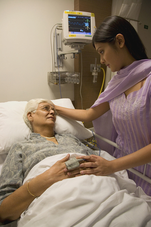 A relative visiting a patient