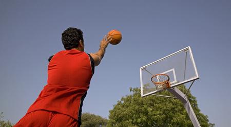 Basketball player makes a shot
