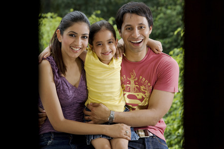 Girl with her parents