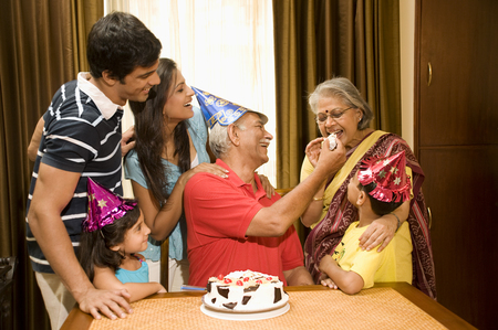 Family celebrating a birthday Stock Photo