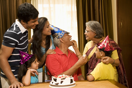 granddad: Family celebrating a birthday Stock Photo