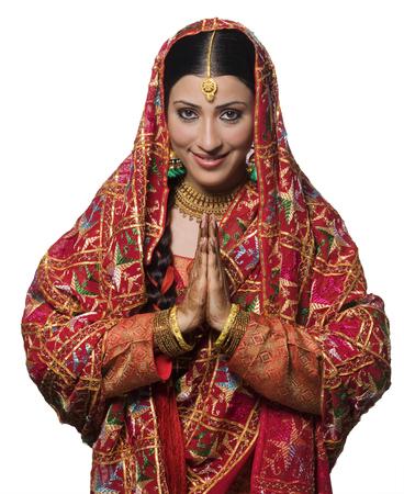 punjabi: Portrait of a Punjabi bride Stock Photo