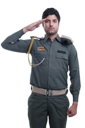 Security guard saluting over white background