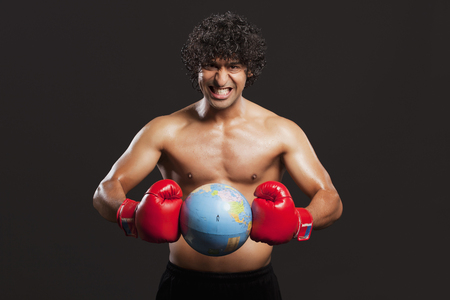 Young boxer breaking globe