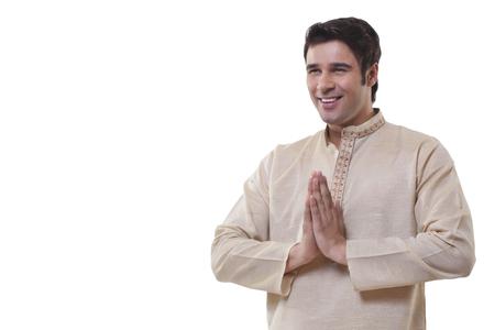 identidad cultural: Bengalí hombre saludo Foto de archivo