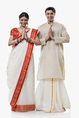 dhoti: Portrait of a Bengali couple greeting