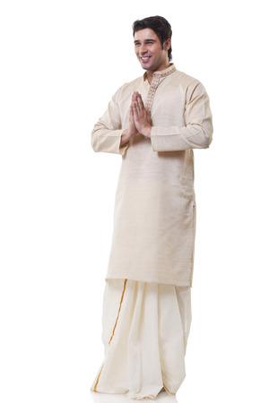 dhoti: Bengali man greeting