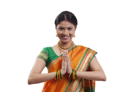 Portrait of a Maharashtrian woman greeting Stock Photo