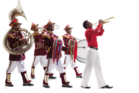Bandwalas playing on their instruments Stock Photo