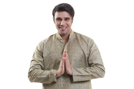kurta: Portrait of a Bengali man greeting Stock Photo