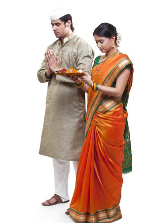 sutra: Maharashtrian couple praying
