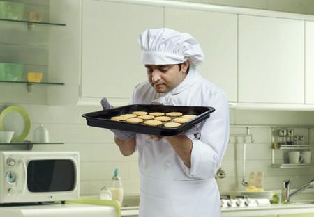 'eyes shut: Chef smelling freshly baked cookies