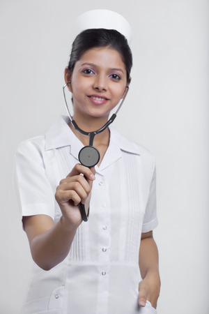 Portrait of a nurse with a stethoscope Stock Photo