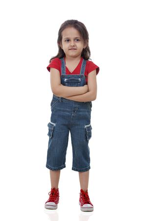 Full length of cute girl over white background Stock Photo