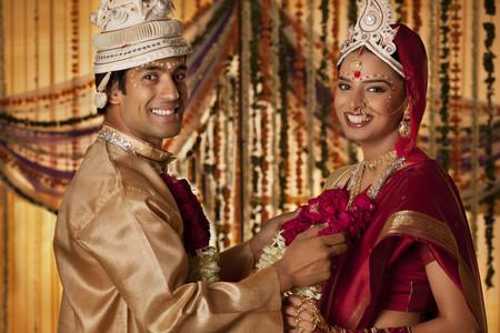 Portrait of Bengali groom and bride