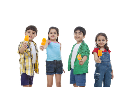 flavored: Group of children holding flavored ice