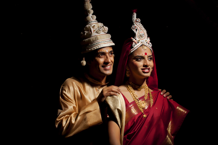 bride bangle: Bengali bride and groom thinking about the future Stock Photo