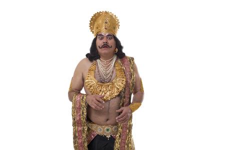 Man dressed as Raavan looking surprised