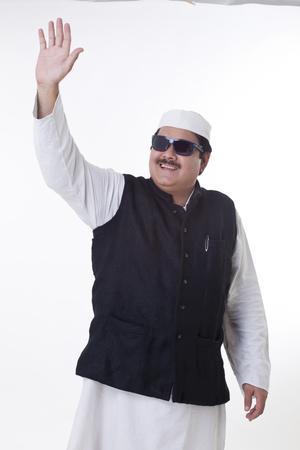 kurta: Happy politician waving hand