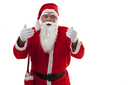 Front view of surprised Santa Claus standing over white background Stock Photo