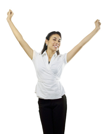 Woman feeling cheerful Stock Photo