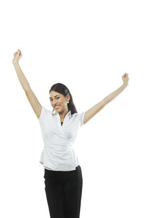 joyfulness: Woman feeling cheerful Stock Photo