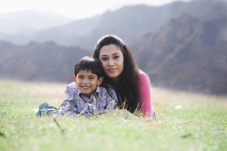 joyfulness: Mother and son posing