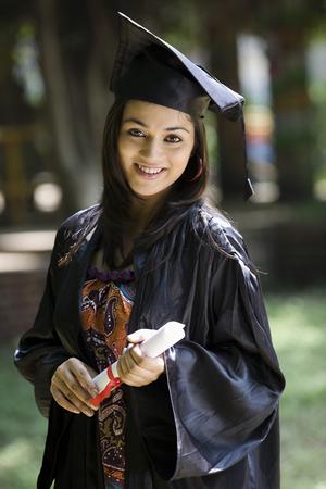 College student at graduation ceremony