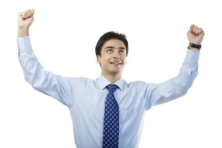 triumphant: Businessman feeling triumphant