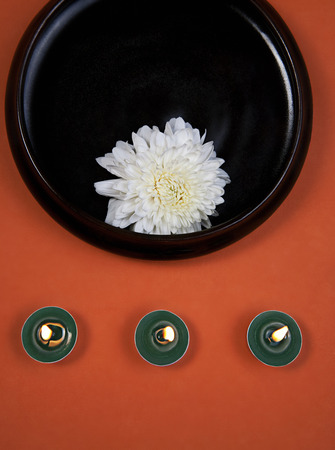White flower and candles