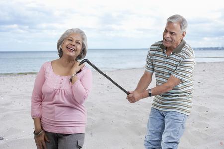 Old couple having fun