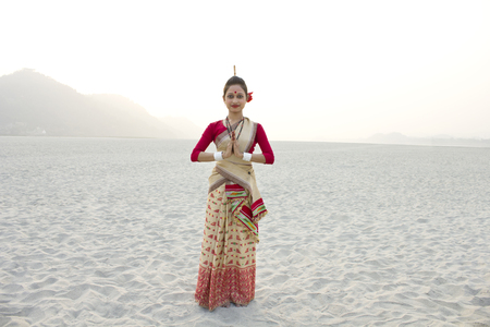 Portrait of Bihu dancer greeting Stock Photo