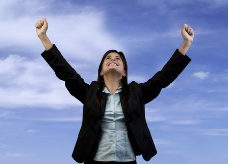 victorious: Woman feeling victorious Stock Photo